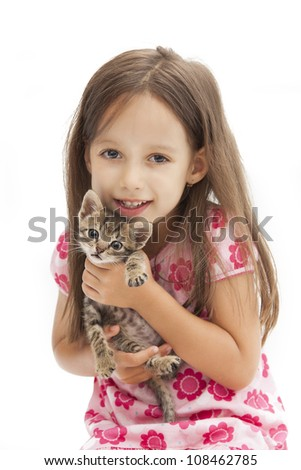 smile girl holding an adorable cat