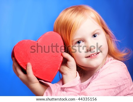 smile girl with red box on blue background