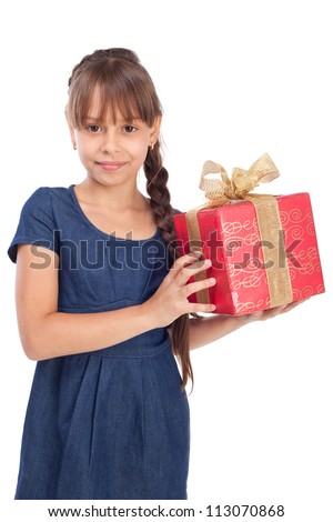 Smile girl with red giftbox isolated over white