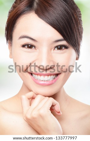 Smile happy Face of beautiful woman with health teeth and skin care isolated over green background. Beautiful young asian woman model