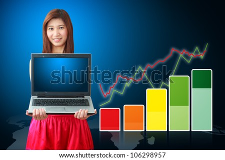 Smile lady and color bar graph