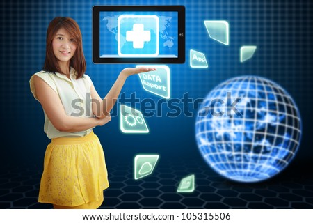 Smile lady and First Aid icon on tablet pc : Elements of this image furnished by NASA