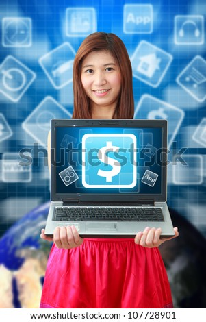 Smile lady and Money icon on notebook computer : Elements of this image furnished by NASA