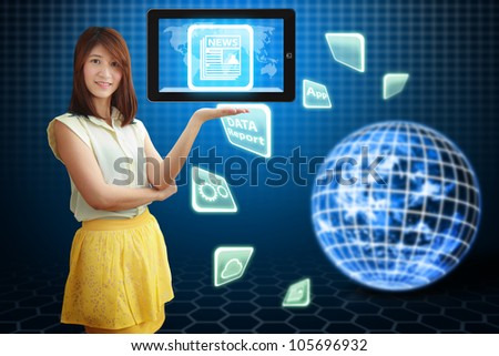Smile lady and News icon on digital touch pad : Elements of this image furnished by NASA