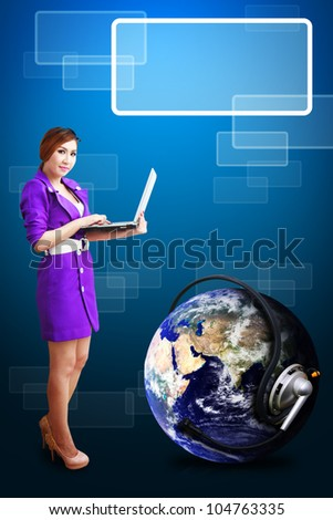 Smile Lady Connecting the world : Elements of this image furnished by NASA