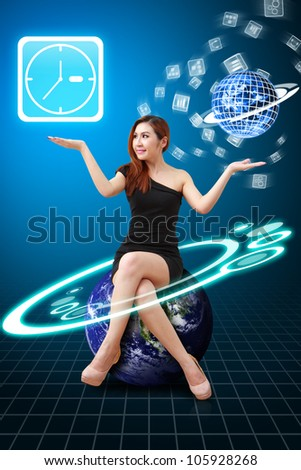 Smile lady hold Clock icon from app world : Elements of this image furnished by NASA
