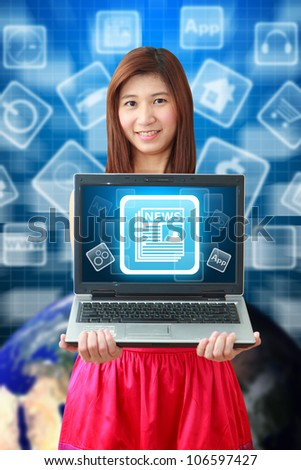 Smile lady hold News icon on notebook computer : Elements of this image furnished by NASA