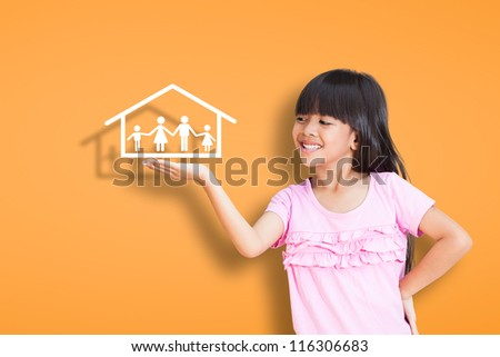 Smile little girl showing on family symbol over simply background
