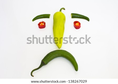 Smile sad composed of peppers. Isolated on white background.