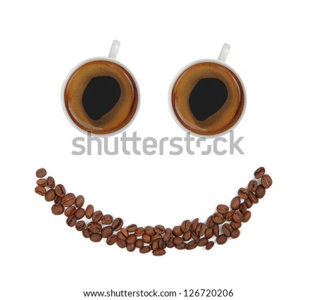 smile with coffee cups and beans