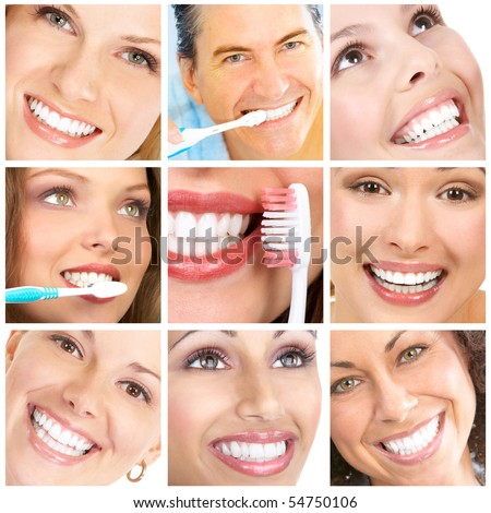 Smiles ans teeth. Faces of smiling people. Teeth care. Smile
