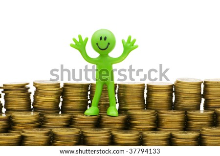 Smiley and coins isolated on the white