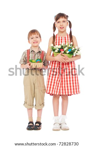 smiley boy and girl with easter gifts. isolated on white