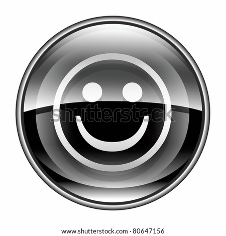 Smiley Face black, isolated on white background. - stock photo