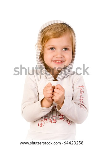 Smiley happy little girl on white background