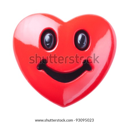 Smiley in love - red smiling heart isolated over white background