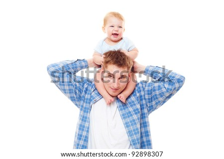 smiley man playing with his son. isolated on white background