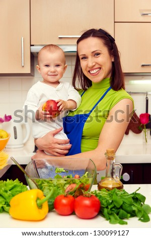 smiley mother and her son at the kitchen