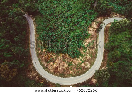 smiley road, curve road on top of the mountain #762672256