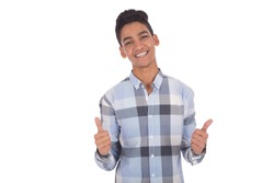 Smiley teenager thumbs up with both hands looks excited, isolated on a white background.