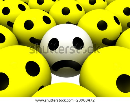 happy face sad face. Smiley with sad face
