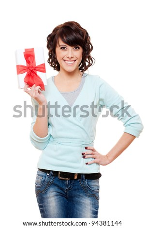 smiley woman holding gift box. isolated on white background