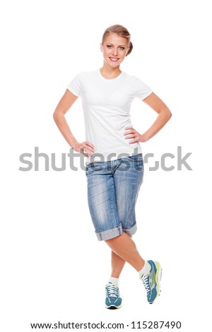 smiley woman in white t-shirt, shorts and jogging shoes