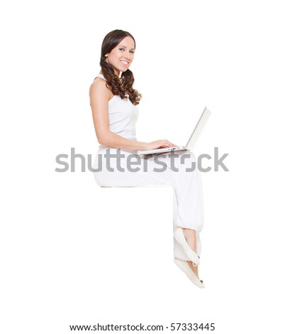 smiley woman with laptop sitting. isolated on white background