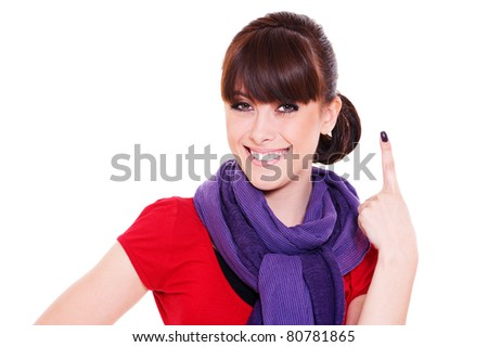 smiley young woman showing number one. isolated on white background