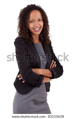 Smiling african american business woman with folded arms Isolated over white background