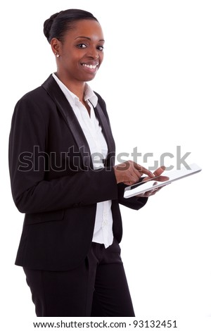 Smiling african american businesswoman using a tablet, isolated on white background