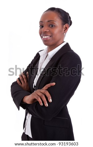 Smiling african american businesswoman with folded arms, isolated on white background