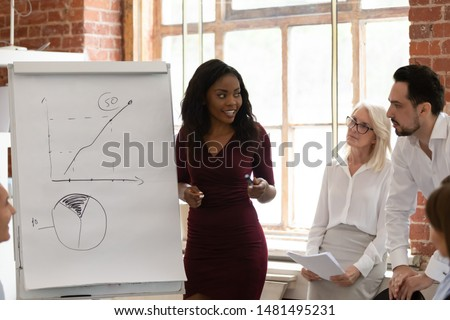 Smiling african American millennial female coach tutor speak presenting business project or plan on flip chart, successful black young businesswoman make whiteboard presentation for diverse employees #1481495231