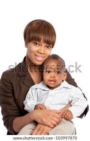 Smiling African American Mom Holding Baby Boy Isolated on White Background