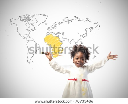 Smiling african little girl with drawing of the world on the background