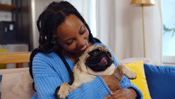 Smiling african woman playing with pet pug dog at home sitting on couch. Portrait of happy afro-american female owner holding cute puppy relaxing on sofa at home