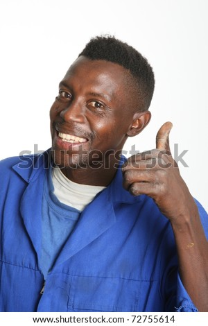 Smiling African worker man with thumb up sign