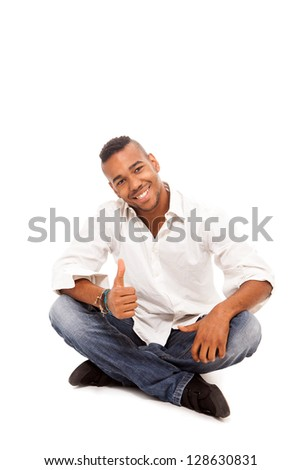 Smiling afro american man on white isolated background
