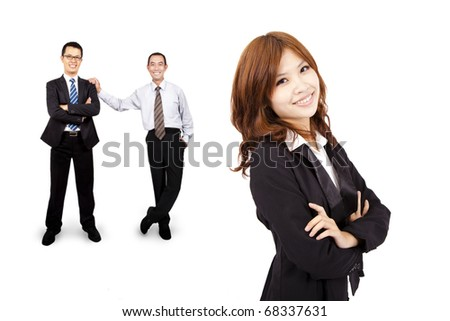 Smiling and confident Asian business woman and success business team