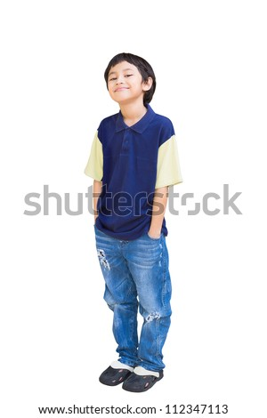 Smiling asian boy posing, Isolated on white with clippling path
