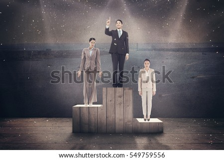 Smiling asian businessman pointing against harbour #549759556