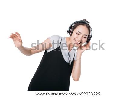 smiling asian girl listening...