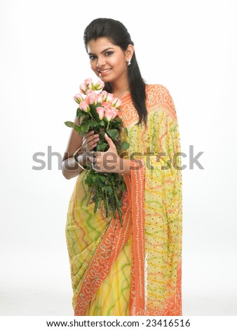 Smiling asian woman with  bunch of pink roses