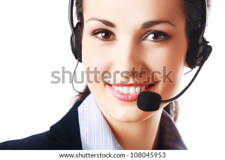 Smiling attractive woman with headphone isolated against white background