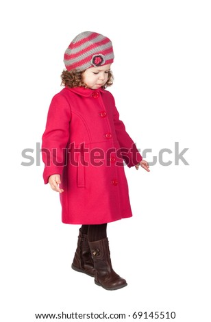 Smiling baby girl with pink coat isolated over white background