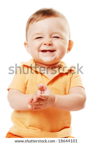 Smiling baby isolated over white