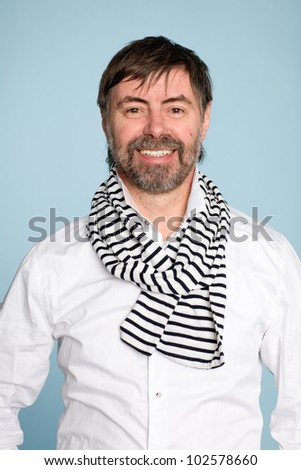 Smiling bearded man of middle age
