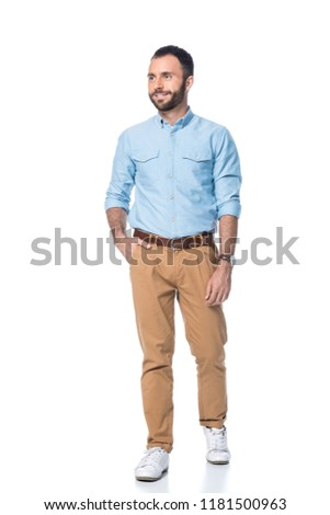 smiling bearded man with hand in pocket isolated on white #1181500963