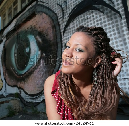 stock photo : smiling beautiful black girl with exotic hairstyle