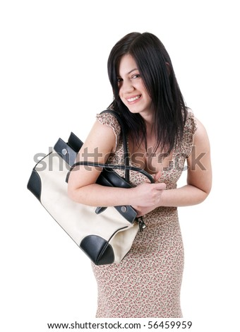 smiling, beautiful, black hair woman with bag